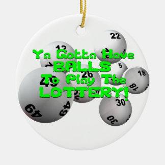¡Ya consiguió tener bolas para jugar la lotería! Adorno Navideño Redondo De Cerámica