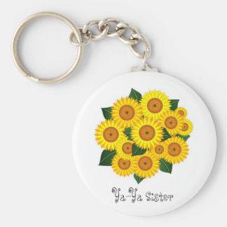 Ya-Ya Sunflower Basic Round Button Keychain