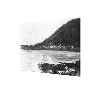 Yachats, opinión de la ciudad de Oregon y fotograf Lienzo Envuelto Para Galerias