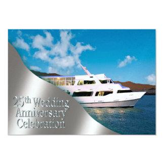 Yacht 25th Wedding Anniversary   daylight 5x7 Paper Invitation Card