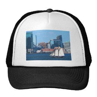 Yacht Against Manhatten Skyline Trucker Hat