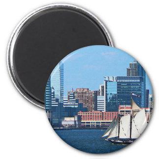 Yacht Against Manhatten Skyline Fridge Magnet