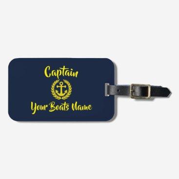 Yacht anchor sailing boat captain text bag tag