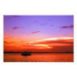 yacht and sunset photo print