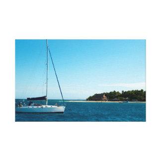 Yacht at Beachcomber Island, Fiji Canvas Print