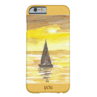 Yacht at sunset reflections Add momogram Barely There iPhone 6 Case