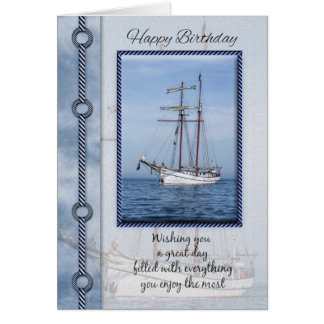 Yacht Birthday Greeting Card With Blended Yacht