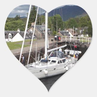 Yacht, Caledonian Canal, Scotland Heart Sticker