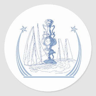 Yacht Club Racing Trophy Cup Drawing Classic Round Sticker