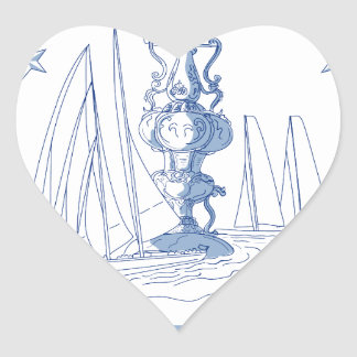 Yacht Club Racing Trophy Cup Drawing Heart Sticker