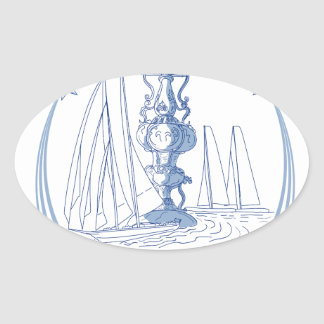 Yacht Club Racing Trophy Cup Drawing Oval Sticker