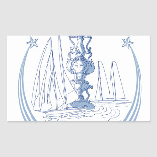 Yacht Club Racing Trophy Cup Drawing Rectangular Sticker