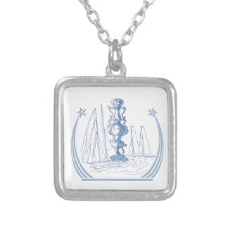 Yacht Club Racing Trophy Cup Drawing Silver Plated Necklace