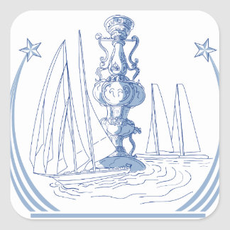 Yacht Club Racing Trophy Cup Drawing Square Sticker