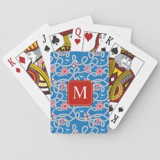 Yacht Club Royal Blue Monogram Playing Cards