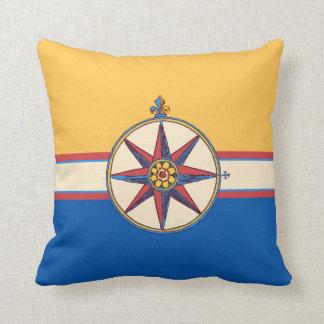 Yacht Club Sailing Marina Compass Rose Elegant Throw Pillow