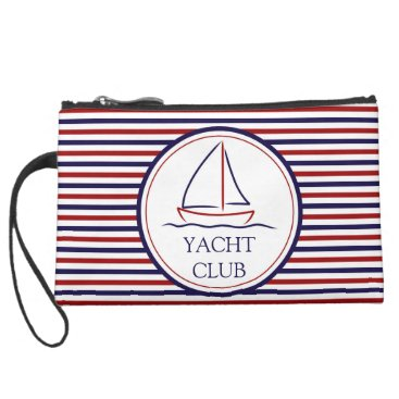 Ocean Themed Yacht Club Suede Wristlet Wallet