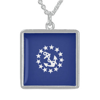 Yacht Flag Anchor Stars Symbol on Blue Sterling Silver Necklace