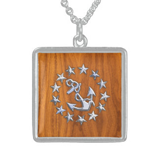 Yacht Flag Symbol on Nautical Teak Wood Print Square Pendant Necklace