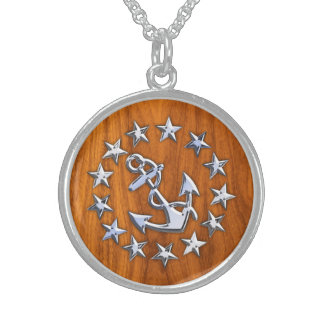 Yacht Flag Symbol on Nautical Teak Wood Print Sterling Silver Necklace