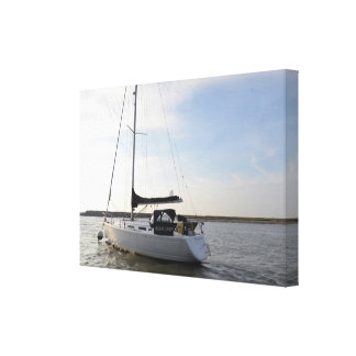 Yacht Helms Deep Stretched Canvas Print