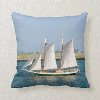 Yacht in Boston Harbor Throw Pillow