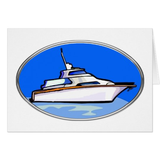 Yacht in Oval Card