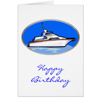 Yacht in Oval Greeting Cards