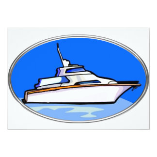 """Yacht in Oval 5"""" X 7"""" Invitation Card"""