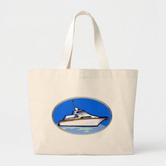 Yacht in Oval Large Tote Bag