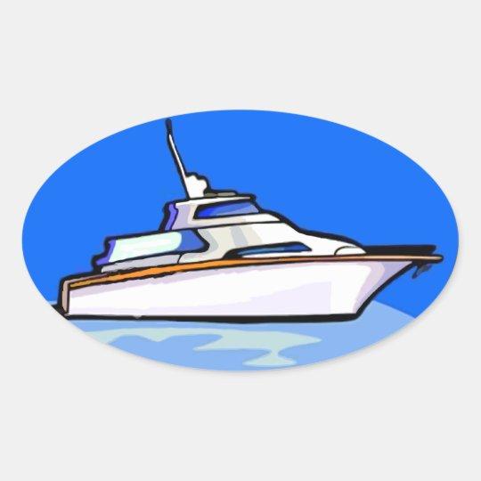 Yacht in Oval Oval Sticker