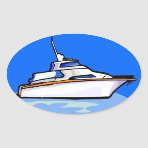 Yacht in Oval Oval Stickers