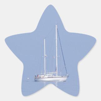 Yacht In The Mist Star Sticker