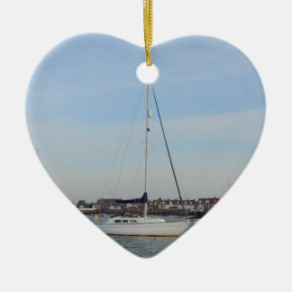 Yacht Moored On The River Crouch Ceramic Ornament