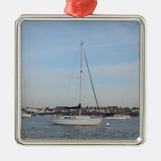 Yacht Moored On The River Crouch Metal Ornament