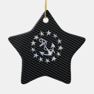Yacht Naval Flag Anchor and Stars Ceramic Ornament