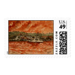 yacht painting power boat postage stamp