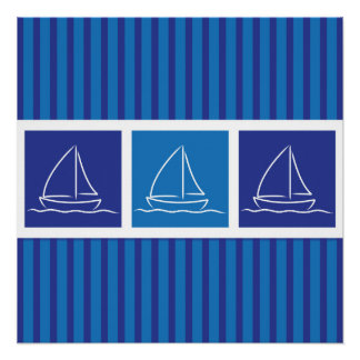 Yacht pattern poster