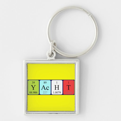 Yacht periodic table keyring Silver-Colored square keychain