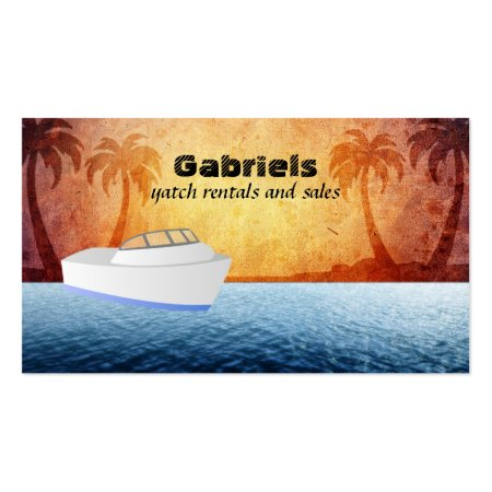 Creative Tropical Eye-catching Yacht Sales and Rentals Business Cards
