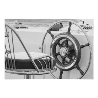 Yacht Rudder Poster Black and White