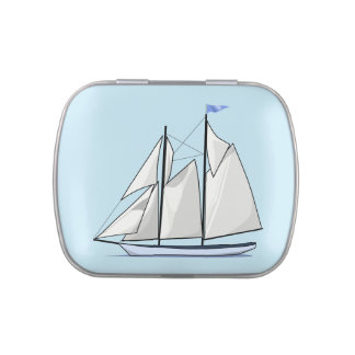 Yacht, sailing boat on blue background candy tin