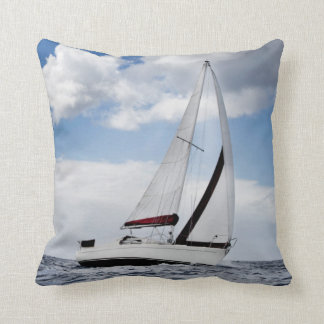 Yacht Sailing In Open Sea Pillow