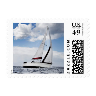 Yacht Sailing In Open Sea Postage