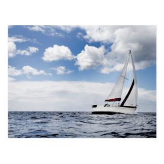 Yacht Sailing In Open Sea Postcard