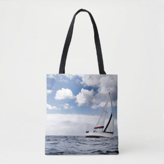Yacht Sailing In Open Sea Tote Bag