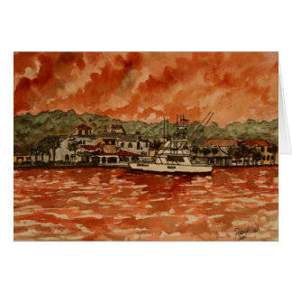 yacht saltwater fishing boat painting card