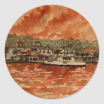 yacht saltwater fishing boat painting classic round sticker