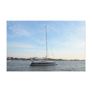 Yacht Sapphire Stretched Canvas Print