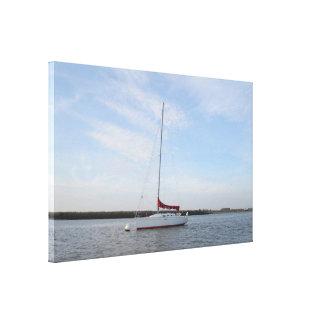 Yacht Scarlet Jester Stretched Canvas Prints